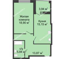 1 комнатная квартира 56,7 м² в ЖК Тихий Дон, дом № 1 - планировка